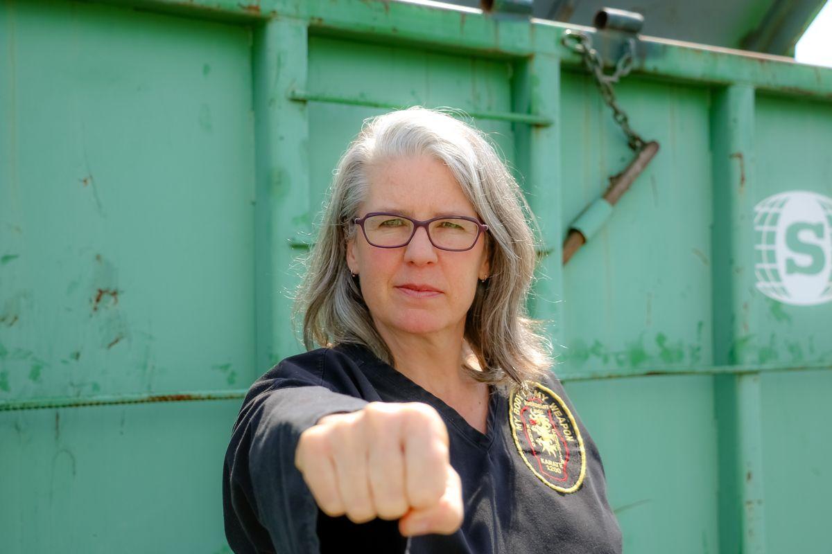 NAGA head instructor Silvia Smart throwing a punch