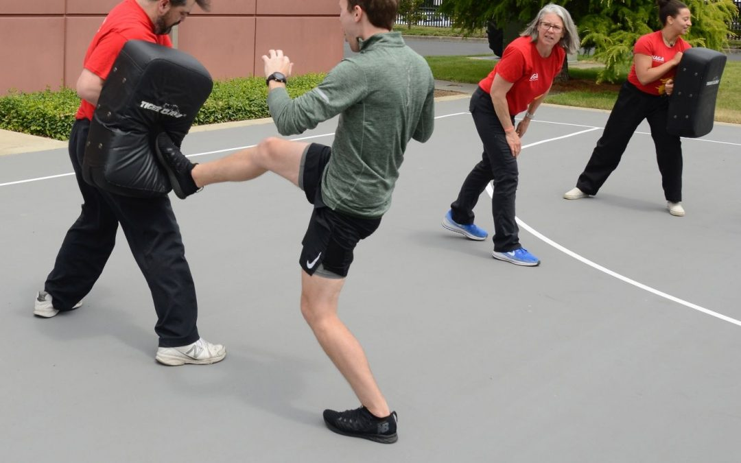 front thrust kicks in self defense class at the fbi